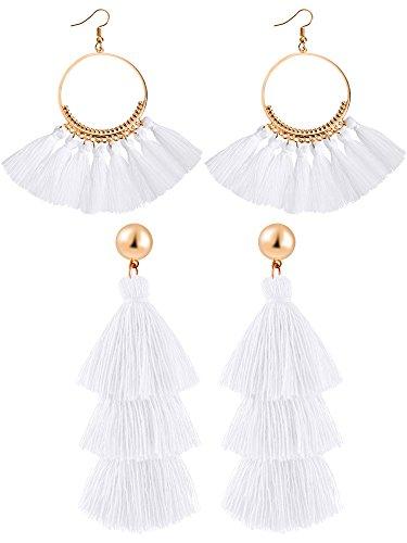 2 Pair Hoop Earring - Hestya 2 Pairs Tassel Earrings for Women Girls Handmade 3 Tiered Tassel Dangle Earrings and Gold Hoop Earrings (White)