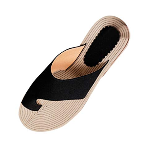 ✔ Hypothesis_X ☎ Women Comfy Platform Toe Ring Wedge Sandals Shoes Summer Beach Travel Shoes Roman Sandals Black