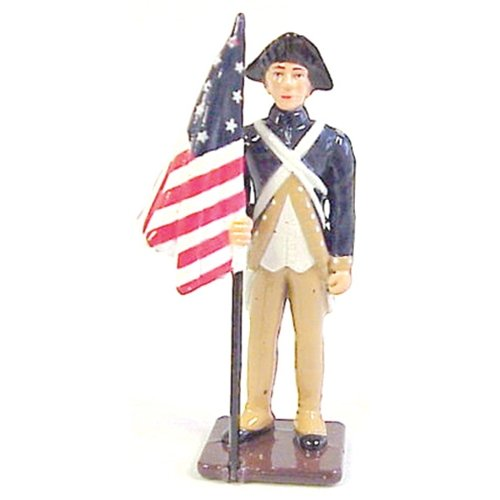 American Revolution American Infantry Colonial Flagbearer 1/32 Painted Metal Toy Soldier by Americana - Fits with W Britain Collectors Showcase