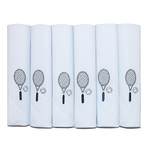 Umo Lorenzo Men's Tennis Racquet Embroidered Cotton Handkerchief Set (Pack of 6) (Travel Embroidered Mens Set)