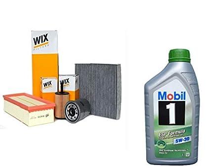 Kit Tagliando con aceite Mobil 1 ESP 5 W30 6 litros + 4 Filtros de ...