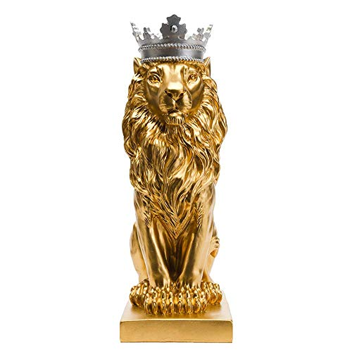 Artgenius 7.3IN Royal King Crown Lion Statue Figurine Decorations (Golden)