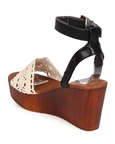 Wedge Media Wooden Bumper EB13 Sandal Mix Women Crochet Toe Black Peep PHnqnRaO