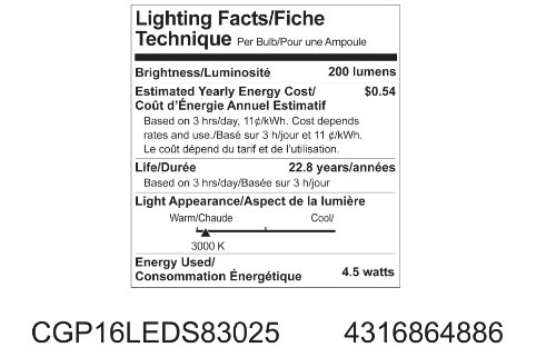 GE Lighting 64886 Energy Smart LED 4.5-Watt (35-watt replacement) 200-Lumen PAR16 Floodlight Bulb with Medium Base, 1-Pack by GE Lighting (Image #1)