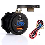 Quick Charger 3.0 Socket, USB + Type C Output w/Blue led Voltmeter & 23.7' Wire with 10A Fuse.for Car, Marine, Boat, Razor 1000, RZR 1000, Jeep, ATV, Truck, Motorcycle. Cirgarette Lighter Replacement
