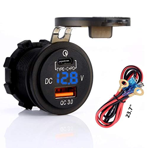Quick Charger 3.0 Socket, USB + Type C Output w/Blue led Voltmeter & 23.7