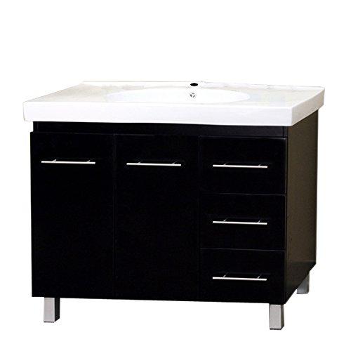 Bellaterra Home 203129-B-R 39-Inch Single Sink Vanity, Right Side Drawers, Wood, Black