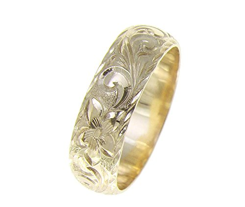 (14K yellow gold hand engraved Hawaiian plumeria scroll ring diamond cut edge 6mm size 7)