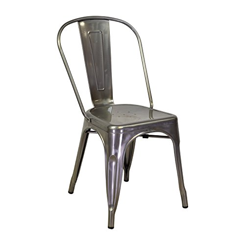 Design Tree Home Tolix Side Chair in Matte Galvanized Steel