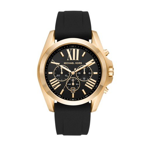 Michael Kors Men's Quartz Stainless Steel and Silicone Casual Watch, Color:Black (Model: MK8578)