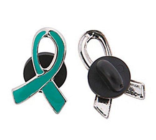 24 Metal Teal Awareness Ribbon Pins (Teal Ribbon Pin)