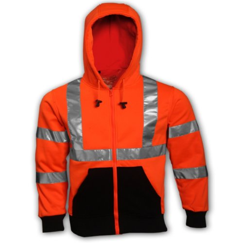 TINGLEY Rubber S78129 Class 3 Hooded Sweatshirt with Zipper, X-Large, Orange ()