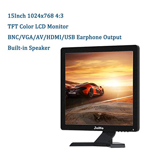 JaiHo 17 Inch Widescreen TFT LCD Monitor, 1280x1024 Resolution 1080P 4:3 Full HD Monitor Color Display Screen with PC/BNC/VGA/AV/HDMI/USB Earphone Input, Built-in Dual Speakers