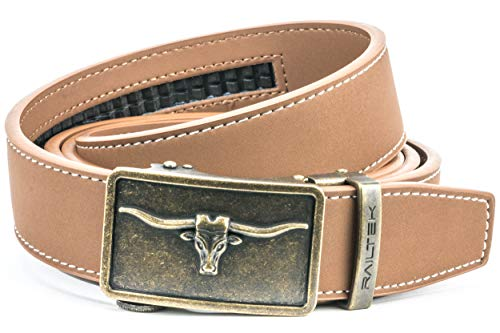 (Ratchet Click Belts for Men | Mens Comfort Genuine Leather Belt with Automatic Buckle & Gift Box (One Size - up to 50
