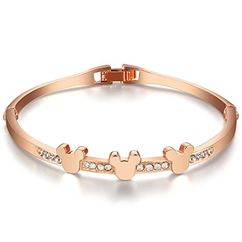 [Menton Ezil 18K White Rose Gold Plated Mouse Bangle Bracelet Zircon Diamond Hinged Jewelry for Girls Women Christmas Gift (rose gold] (Best Dressed Costume Certificate)