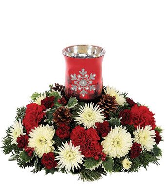 Christmas Flowers - Shimmering Snowflake Centerpiece by christmas flowers