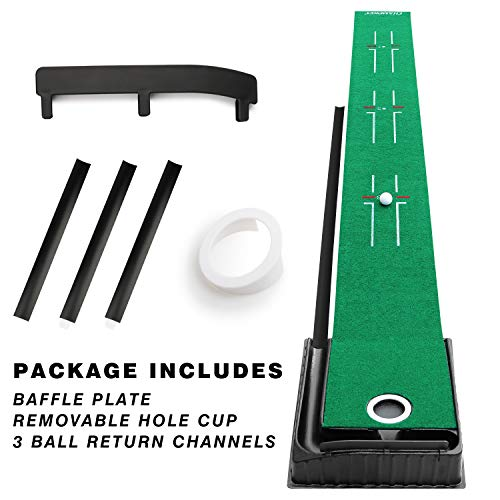 Champkey Guider PRO Golf Putting Mat - Adjustable Hole & Automatic Ball Return Golf Putting Green - Alignment & Distance Training Mat Gift for Home, Office, Outdoor Use