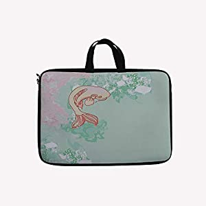 """3D Printed Double Zipper Laptop Bag,Fish Swimming Pale Complex Customized Sea Backdrop,13 inch Canvas Waterproof Laptop Shoulder Bag Compatible with11.12.6"""" 12.8"""" 13"""" 13.3"""" inch Laptop."""