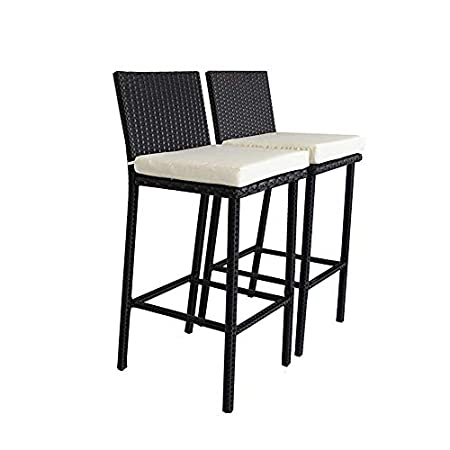 Leaptime Outside Rattan Bar Table and Stools Set Patio Garden Wicker Bar Bistro Set Black PE Rattan 2 stools 1 Table Beige Cushion