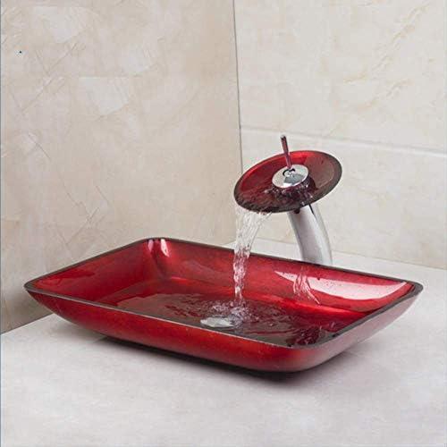 レッド長方形勝利ハンド真鍮蛇口バスルームシンクセットで洗面強化ガラス洗面シンクペイント,操作簡単