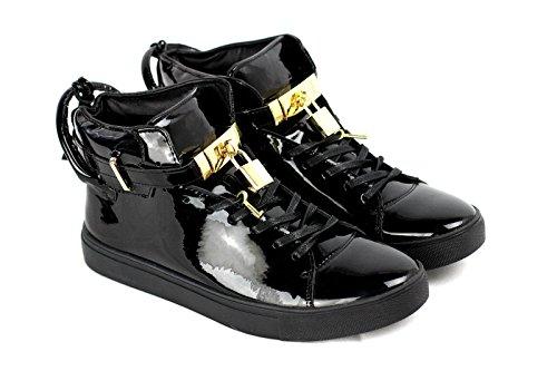 JAS Herren Schnürschuhe Party Freizeitschuhe Designer Mode Turnschuhe Hoch Schuhe Schwarz