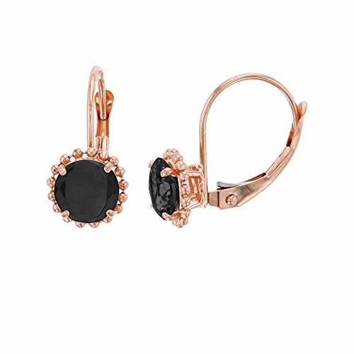 (14K Rose Gold 6mm Round Onyx Center Stone Bead Frame Leverback Earring)