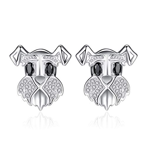 JewelryPalace Schnauzer Terrier Dog Puppy Pet Lover Genuine Black Spinel Stud Earrings 925 Sterling Silver (Pearl Spinel Earrings)