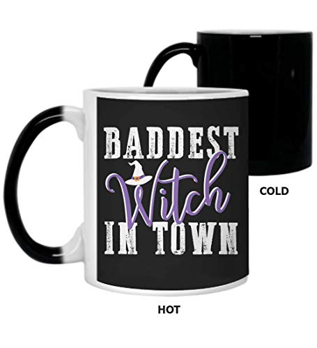 Baddest Witch In Town Bad Witches Halloween Party Good E12Coffee Mugs, Color Changing 11Oz
