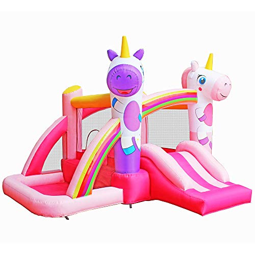 Best Prices! RetroJump Bouncer Kids Bounce House Slides Pink Bouncy Inflatable Jumper Houses with Bl...