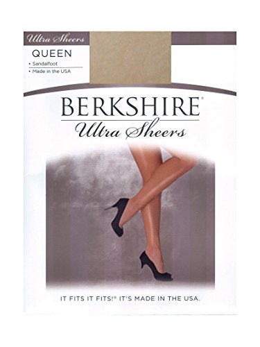 - Berkshire Women's Plus-Size Queen Ultra Sheer Non-Control Top Pantyhose - Sandalfoot,Creme Crepe,5X-6X