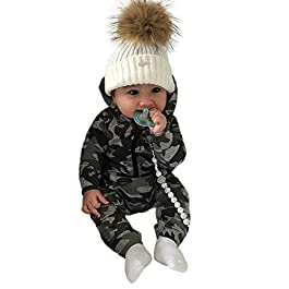 Baby Boy Girl Clothes Unisex Outfits Set, Newborn Baby 0-24M Winter Clothing Outfits Camouflage Print Hooded Jumpsuit…