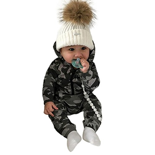 3-18M Baby Boy Girl Camouflage Full One PiecePrint Hooded Romper Jumpsuit Clothes with Pocket and Zipper Casual Outfit (Camouflage, 6M) ()