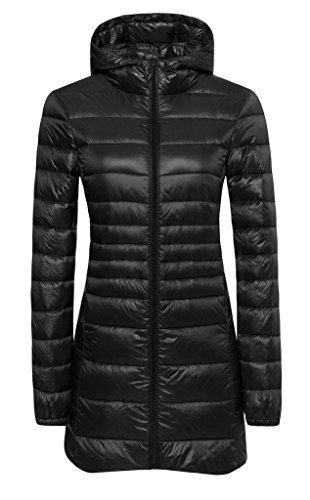 ilishop Women's Winter Outwear Light Coat Packable Down Jacket Black S(Standard US Size)