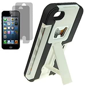 Cerhinu BW Armor Video Stand Bottle Opener Credit Card Slot Protector Hard Shield Cover Snap On Case for AT&T, Verizon...