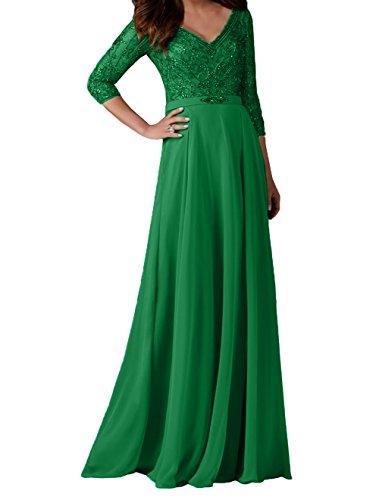 Brautmutterkleider Charmant Ballkleider Abendkleider Neu Langarm mit Grün Perlen Promkleider Partykleider Damen 2018 8XxSrq78