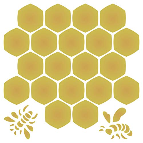 Honeycomb Stencil - 6.5 x 6.5 inch (S) - Large Reusable Bee Honey Comb Hexagon Wall Stencil Template - Use on Paper Projects Scrapbook Journal Walls Floors Fabric Furniture Glass Wood etc. ()
