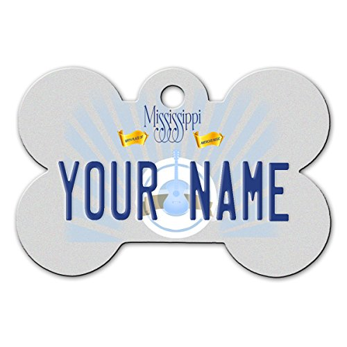 BleuReign(TM) Personalized Custom Name Mississippi State License Plate Bone Shaped Metal Pet ID Tag with Contact Information