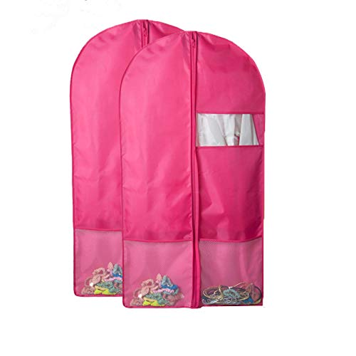 QEES 2 PCS Garment Bags with Pockets, Pink Full Zipper Costume Dance Garment Bags for Storage, Travel Storage Protector, Suit Cover for Dresses,Coats YFZ61