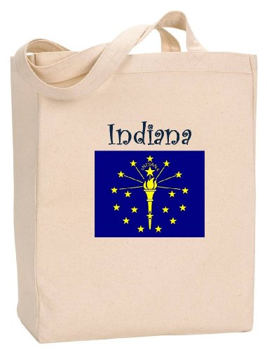 INDIANA - FLAG - State Series - Natural Canvas Tote Bag with - Lafayette Indiana Shopping