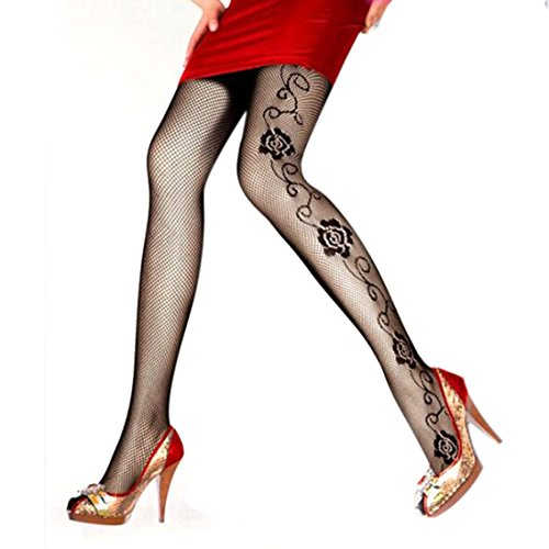(Fishnet Sexy Stockings Spring Carved Vintage Cutout Silk Pantyhose Girl Rose)