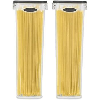 2 Pack Spaghetti Lasagna Pasta Box 6 Cup Tall Square Plastic Food Storage  Container