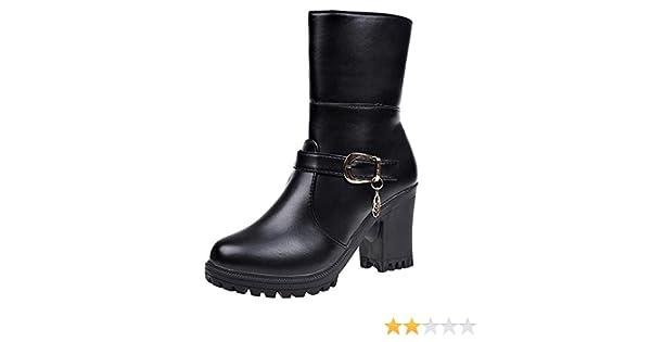 Logobeing Botas de Agua Mujer Botines Mujer Tacon Zapatos de Tacón Alto de Cuero con Punta Redonda Mujer Botas de Mujer(39,Negro)
