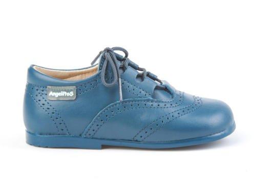 ANGELITOS Zapatos inglesitos de Piel Para Niña y Niño (Unisex) Color Azul Azafata. Marca Modelo 505. Calzado infantil Hecho EN España.