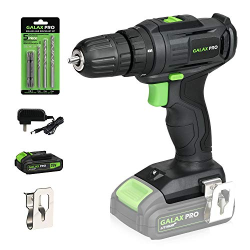 """GALAX PRO 2-Speed Compact Drill 20V MAX Lithium-Ion Drill/Driver, 3/8"""" Electric Drill with 19+1 Torque Setting, 1.3 Ah…"""