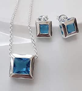 Silver Plated Necklace encrusted with blue crystals