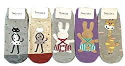 Women's Socks Ankle Crew Cotton Socks with Cute Characters Designs Set of 5 Pairs