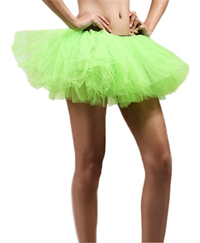 Green Tutu (Women's, Teen, Adult Classic Elastic 3, 4, 5 Layered Tulle Tutu Skirt (One Size, Green 5Layer))