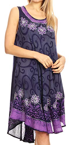(Sakkas 18153 - Anabel Women's Short Flowy Caftan Tank Dress Cover up Light Swing A-line - Navy/Purple - OS )