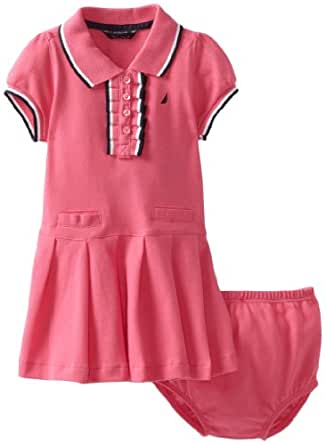 Nautica Sportswear Kids Baby Girls' Polo Dress With Pleated Bottom, Medium Pink, 12 Months
