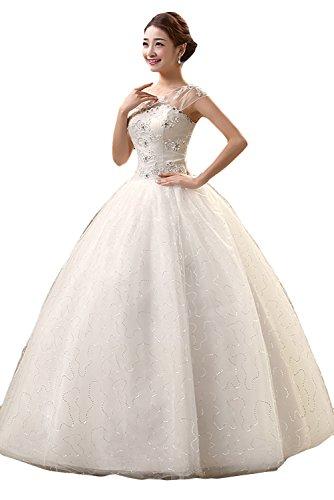 Gorgeous Bride Elegant Brautkleider Lang Rundkragen A-Linie Satin Tüll Spitze Hochzeitskleider